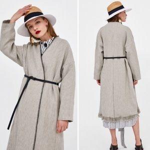 ZARA | Ecru Beige Belted Linen Striped Frayed Coat